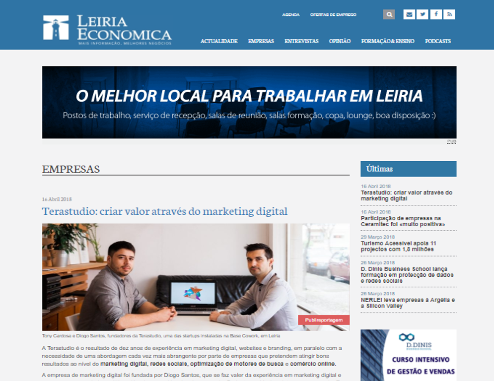 TeraStudio – Marketing Digital em destaque na Leiria Económica
